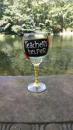 Teacher's Helper hand painted wine glass