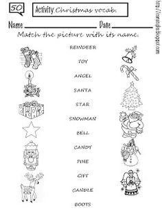 Ficha para reforzar el vocabulario relacionado con la Navidad. Espero que les guste.