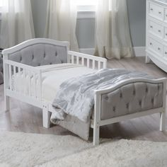Orbelle Upholstered Toddler Bed - Gray/French White - Toddler Beds at Hayneedle