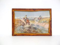 Hey, I found this really awesome Etsy listing at https://www.etsy.com/listing/253223799/vintage-cm-russell-framed-picture-cowboy