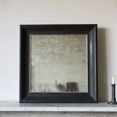 Verre Eglomise Mirror: A Verre Eglomise mirror, with a gessoed frame and white gold gilding. Commissioned by Freight and handmade in East Sussex.