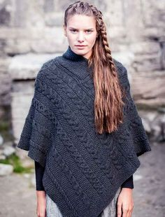 Our Aran Cable Poncho is 100% Irish made from Soft Merino Wool. Buy yours today direct from the Aran Sweater Market, Aran Islands, Ireland the Famous Original, Since 1892 - ORDER NOW!