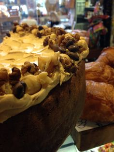 Coffee and walnut cake on the counter