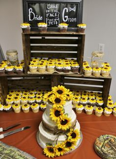 Modern Rustic Sunflower Wedding Theme A unique and quite beautiful flower is the sunflower; it's many people's favorite flower. If it's yours here are some summer wedding theme ideas for a sunflower wedding; use them or let them help you Sunflower Cupcakes, Sunflower Party, Sunflower Room, Rose Gold Party Supplies, Rose Gold Table, Wedding Dress Chiffon, Wedding Dresses, Candy Melts, Betty Crocker