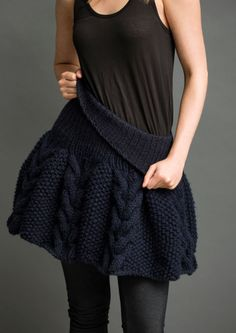 K010 Puff Skirt - cables & seed stitch