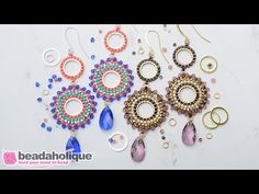 How to Make the Beaded Statement Earring featuring Swarovski Crystals Kit by Beadaholique - YouTube