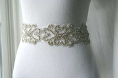 Dress sash // ART Deco -Bridal and Special occasion Crystal SASH  - belt - 2013 Bridal  Trends Jeweled belt --Ultra Glam-Old Hollywood. $69.99, via Etsy.