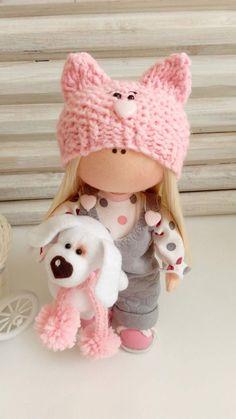 PDF Knitted Ballerina Wrap Cardigan for Gingermelon My Felt Doll Pretty Dolls, Cute Dolls, Beautiful Dolls, Doll Crafts, Diy Doll, Homemade Dolls, Fabric Toys, Sewing Dolls, Doll Tutorial