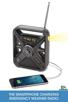 This is the portable NOAA weather radio that doubles as a flashlight and charges smartphones in an emergency. Only available from Hammacher Schlemmer, it receives broadcasts from all NOAA weather stations and picks up emergency weather alerts for your area to warn you of hurricanes, tornados, or severe storms.