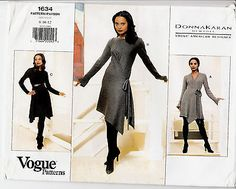 Wrap Dress Pullover Donna Karan Vogue Sewing Pattern 1634 Szs 8-12 Uncut Easy