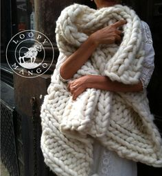 I am completely obsessed with this 28'' x 40'' Chunky Knit blanket throw or wrap by loopymango, Its the middle of summer and I want to wrap up in it with a book and a roaring fire! Here Comes Autumn!