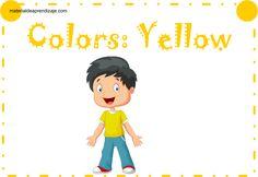"""Actividad a realizar: Pega pedazos de papel amarillo dentro del dibujo. Luego, delinea. (Glue yellow paper pieces in drawing then delineate) . Ficha de trabajo """"Colors: red - color rojo"""" para niños de 3 años."""