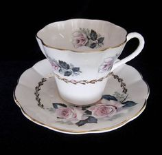 Hamilton Bone China Tea Cup and Saucer White Pink Roses &