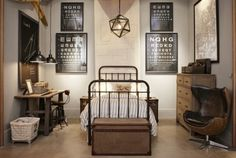 Restoration Hardware masculine room