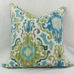 "Blue & green ikat decorative throw pillow cover. 18"" x 18"" toss pillow. 18"" square accent pillow."