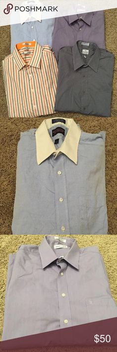 4 Men's Long Sleeve Dress Shirts Size 17 34/35 4 men's long sleeve dress shirts.  All are a size 17 34/35, except the striped shirt is a 17.5 34/35.  Includes brands Geoffrey Beene, Pierre Cardin, Van Heusen, and Roundtree & Yorke.  All are in very good condition from a pet and smoke free home. Multiples Shirts Dress Shirts