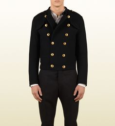Gucci cadet jacket with gold metal buttons