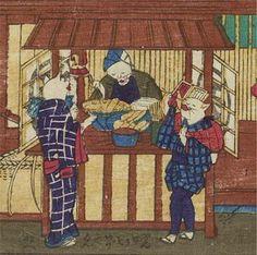 そば屋の外には天ぷらの屋台が。セリフは「ぎんぽうもあげてくんねへ」。銀宝(ぎんぽう、ぎんぽ)とは細長いドジョウに似た体型の魚。かつては江戸前の天ぷらとして有名でした