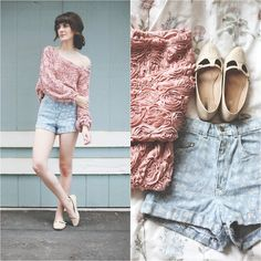 Finch & Fawn blog featured the 3-D Flower Mesh Jumper and the Printed High-Waist Jean Cuff Short by #AmericanApparel.  #bloggers #Finch #denim