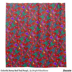Colorful Artsy Red Teal Purple Abstract
