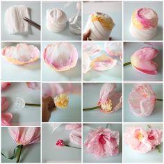 Crepepapir bliver til livagtige blomster