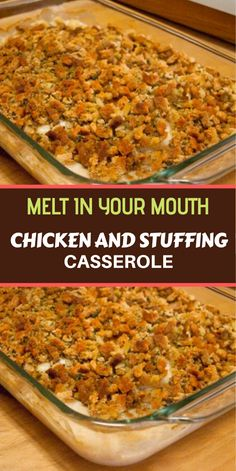 Chicken And Stuffing Casserole It is simple to make and only requires 6 ingredients that I usually always have on hand. It is also nice enough to serve to guests. You can't lose with this one. Baked Chicken Recipes, Meat Recipes, Cooking Recipes, Recipies, Shredded Chicken Recipes, Chicken Shit Recipe, Easy Chicken Dishes, Recipes For Leftover Chicken, Casseroles With Chicken