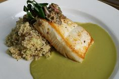 Alaskan Halibut with Minted Quinoa, English Pea Sauce and Wild Morel Mushroom Vinaigrette -- a brand new Chef Howie original recipe! English Peas, Raw Bars, Halibut, Wine List, Seafood Restaurant, Original Recipe, Vinaigrette, Quinoa, Stuffed Mushrooms