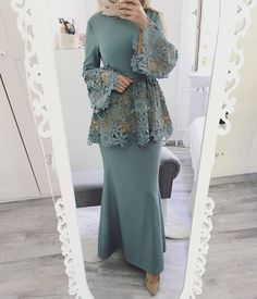 Hijab outfit for occasions Kebaya Muslim, Kebaya Hijab, Kebaya Dress, Muslim Dress, Islamic Fashion, Muslim Fashion, Modest Fashion, Fashion Dresses, Formal Fashion