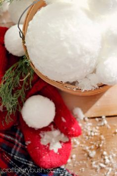Craftberry Bush: How to make Indoor SnowballsDifferent size Styrofoam balls Epson Salts Shredded Snow Modpodge or Glue