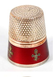 RP: German Enamel Gilt Sterling Wengert Greif Thimble - antiquehelper.com