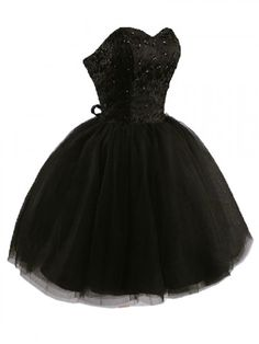 Black Strapless Beaded Dress with Lace Panel | Choies