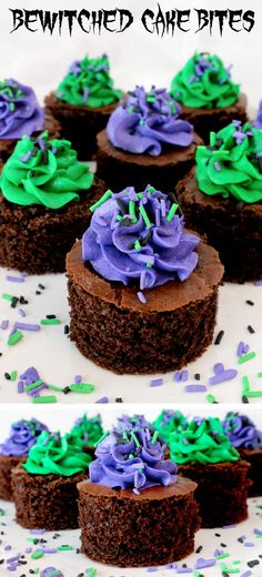 Bewitched Cake Bites - fun and delicious mini cakes with pretty purple and green Halloween colored frosting. A great Halloween dessert idea and a unique take on a Halloween cupcake. Super easy to make, they will be a great Halloween treat for this year's Postres Halloween, Halloween Sweets, Halloween Cupcakes, Halloween Foods, Halloween Ideas, Halloween Stuff, Fall Treats, Holiday Treats, Holiday Recipes
