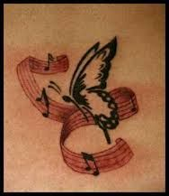 Tattoos of Butterflies with music note - Google Search