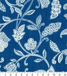 Waverly Upholstery Dcor Fabric - Stencil Vine Ocean Stencil Fabric, Fabric Decor, Stencils, Fabric Design, Retro Bed, Blue Living Room Decor, Blue Texture, Dark Blue Background, Pottery Designs