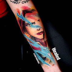Russell Van Schaick Tattoos — Got a healed shot of this badass firebender 🤜💨🔥🔥... Cartoon Tattoos, Anime Tattoos, Up Tattoos, Body Art Tattoos, Cool Tattoos, Henna Tattoos, Henna Tattoo Sleeve, Watercolor Tattoo Artists, Avatar Tattoo