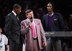 TNT personality Craig Sager talks with NBA All-Stars Kevin Durant and Chris Bosh…