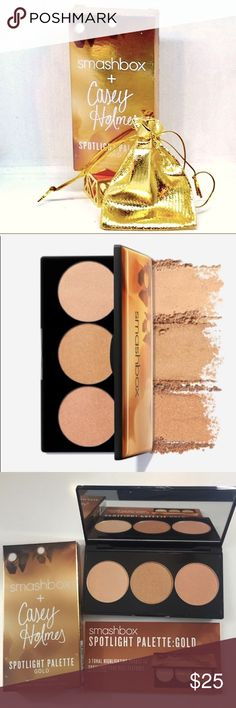 SMASHBOX CASEY HOLMES SPOTLIGHT PALETTE IN GOLD SMASHBOX CASEY HOLMES SPOTLIGHT PALETTE IN GOLD Retails for $35 +  tax An easy to usehighlightingpalette that puts you in control of the spotlight. Fearlessly add dimension and depth to your face with 3 tonal finishes that layer to create your ultimate glow. Each shade melts into skin without emphasizing uneven texture. ❌PRICE IS FIRM🚫NO OFFERS PLEASE❌ Smashbox Makeup Luminizer