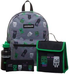 Give your Minecraft fan a cool look for school with this kids' backpack, lunchbox, pencil case and water bottle set. Green Backpacks, Kids Backpacks, School Backpacks, Sac Lunch, Lunch Box, Tom Och Jerry, Minecraft Merchandise, School Supplies Cake, Shopping