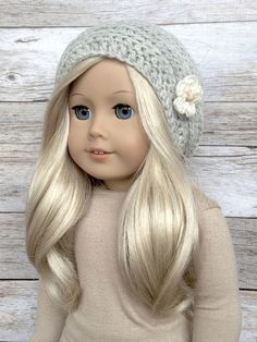 DIY Crochet Pattern  18 inch Doll Slouchy Flower Beanie PDF