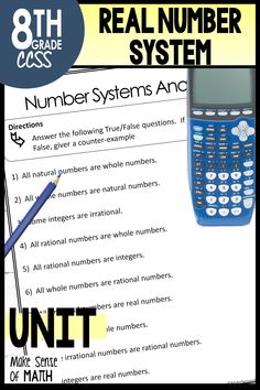 This real number system unit focuses on rational and irrational numbers. Includes notes, assessments, worksheets, stations, and fun activities. These products are aligned to the 8th grade common core standards. Your eighth grade (year 8) math students will love learning about the real number system, estimating irrational numbers, and more. #makesenseofmath 8th Grade Math, Eighth Grade, Fun Math Activities, Math Resources, Year 8 Maths, Real Number System, Natural Number, Irrational Numbers, Grading System