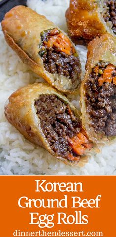 Korean Ground Beef Egg Rolls made with just a few ingredients are a ...