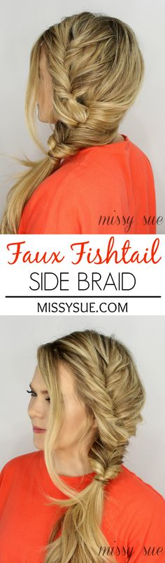 Faux Fishtail Side Braid, seems like this technique would make it more secure than a normal fishtail braid Good Hair Day, Great Hair, Pretty Hairstyles, Braided Hairstyles, Updo Hairstyle, Summer Hairstyles, Hair Dos, Gorgeous Hair, Hair Hacks