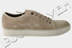 LANVIN 100% AUTH BEIGE SUEDE & PATENT CALFSKIN LEATHER LOW TOP SNEAKERS
