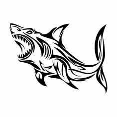 - Perfect for cars, trucks, mailboxes.or anywhere with a smooth flat surface - Made from durable vinyl - Printed with UV resistant ink - All weather, will hold up out doors for years - Approx x Hai Tattoos, Body Art Tattoos, Tribal Shark Tattoos, Shark Drawing, Tribal Animals, Shark Art, Arte Tribal, Hawaiian Tattoo, Great White Shark