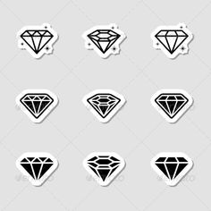 Diamond Icons Set as Labes — JPG Image #treasure #luxury • Available here → https://graphicriver.net/item/diamond-icons-set-as-labes/7151790?ref=pxcr