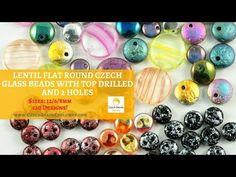 Video! LENTIL Flat Round Czech Glass Beads with Top Drilled & 2 Holes   #czechglassbeads #czechbeadsexclusive