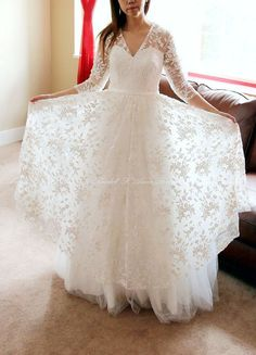 Romantic Design Illusion Sweetheart Neckline A-Line Embroidered Organza Wedding Bridal Gown with Long Sleeves - L'Amei 2017 Wedding Styles, Illusions, Pulling Weeds, Romantic, Trending Outfits, Celebrities, Wedding Dresses, Lace, Handmade Gifts