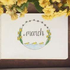 Title page for March - daisies, daffodils, and ducklings!  Maybe March will be the month I have everything set up *before* the month starts  #bulletjournal #bujo #titlepage #journal #monthlypage #march #daffodils #ducklings #daisychain #landscapebulletjournal