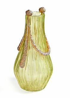 Loetz Texas Empire, production number II-2580.  Uranium glass. Height 19 cm.  Ca. 1905.
