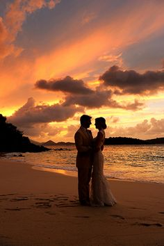 What a gorgeous picture! A sunset wedding in St John, USVI // Photo by: http://blueglassphotography.com/